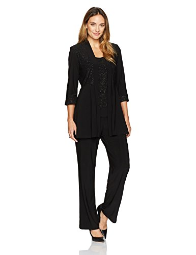 R&M Richards Women's Two Piece Glitter and Lace Pant Set Missy,  Black, 10