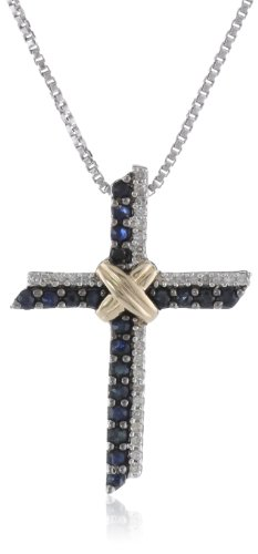 Sterling Silver and 14k Yellow-Gold Sapphire and Diamond Criss-Cross Pendant Necklace, (.08 Cttw I-J Color, I3 Clarity) 18'' by Amazon Collection
