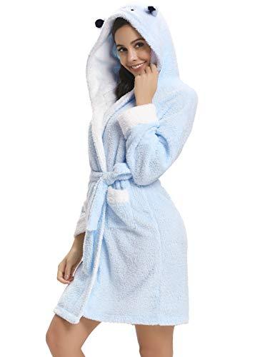 Peignoir Longue Nuit Lady Femme D'hiver Chaudes De Mariée Bleu Chambre Vêtement Flanelle Hôtel robe Nuit Dames Aibrou Robe Femmes Capuche fqdp7xwf