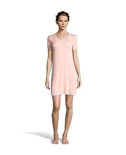 Kathy Ireland Women's Polka Dot V-Neck Pajama Sleep Shirt With Lace Trim and Bows Grapefruit X-Large