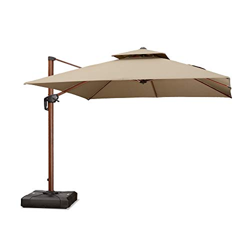 PURPLE LEAF 10 Feet Double Top Deluxe Sunbrella Wood Pattern Square Patio Umbrella Offset Hanging Umbrella Outdoor Market Umbrella Garden Umbrella, Beige