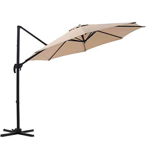 SUPERJARE 10 Ft Offset Hanging Umbrella, Crank Lift 5 Lock Positions, 360 Rotation, Outdoor Patio Cantilever with Tilt Canopy – Beige