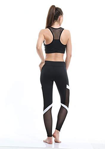 Atmungsaktive Anzeigen schnell und Sportstrumpfhose Taille Schwarz Hohe trocknende Strumpfhoseschwarzm Damen Stretch Fitness Yogahose ukXZPiO