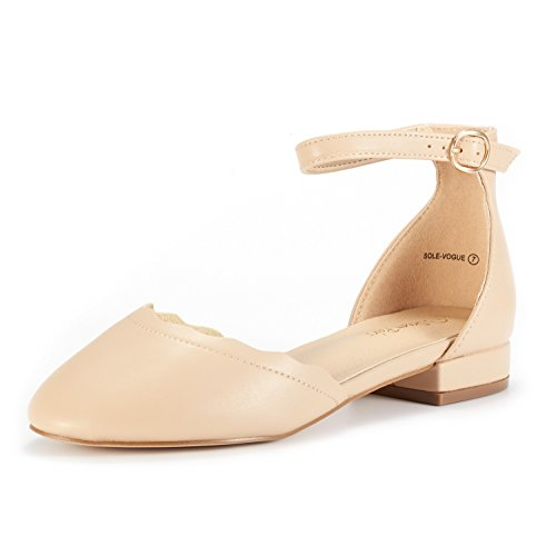 DREAM PAIRS Women's Sole_Vogue Nude/PU Fashion Low Stacked Ankle Straps Flats Shoes Size 5.5 M US