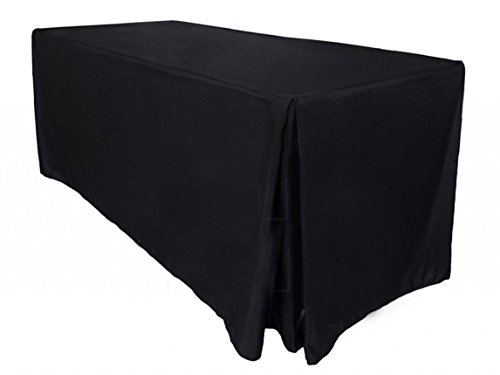 LinenOrder 8 Piece 6' Premium Fitted Tablecloth, 72'' L x 36'' H x 30'' W, Black by LinenOrder