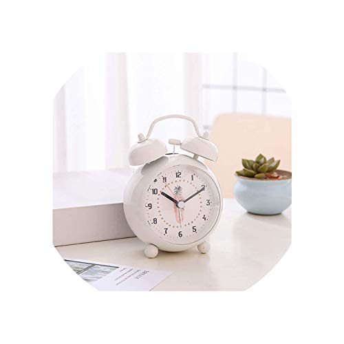 FAT BIG CAT 3 Inch Cute Metal Ringing Alarm Clocks Student Bedside Mute Snooze Bell Clocks Decor Pink Flaming-Bird Clock with Night Light,03