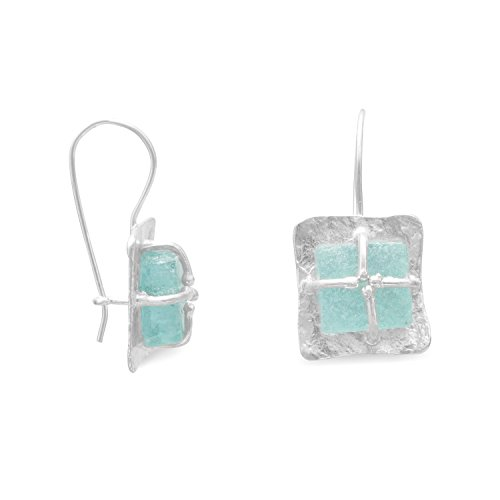 Ster. Silver Textured Square Ancient Roman Glass Earrings Height 32mm Ancient Glass Measures 12x14mm by JewelryWeb