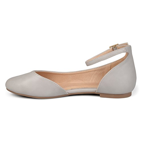 Flats Toe Leather Co Brinley Ankle Womens Strap Width Aro Grey Round Wide Faux DOrsay n7xvTUaxq