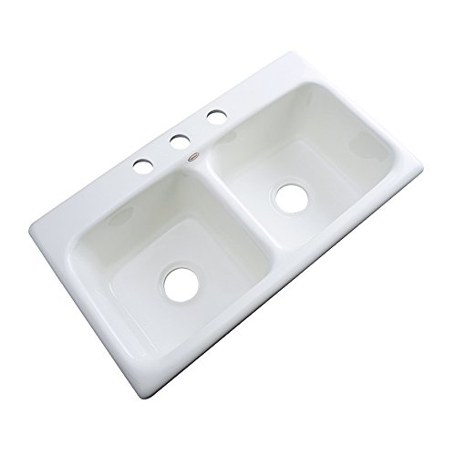 Dekor Sinks 64300 Englewood Cast Acrylic Double Bowl Kitchen Sink-3 Hole, 33