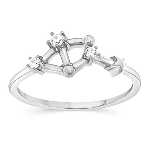 - Celestial Star Horoscope LIBRA Astrology Star .10 Diamond Ring in Sterling Silver, Size 7