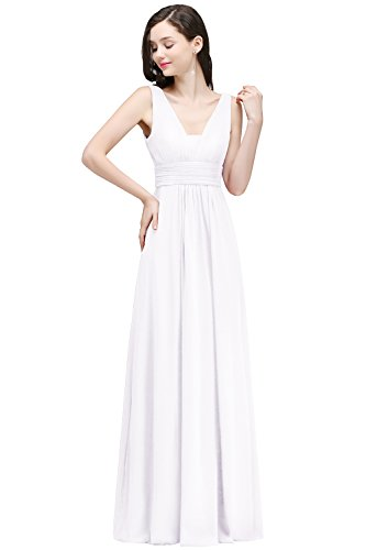MisShow Sleeveless Ruched Waist White Chiffon Long Bridesmaids Party Dress US6