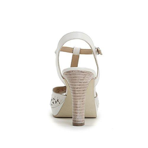 ALESYA by Scarpe&Scarpe - Sandalias altas con T-bar y grabado láser Blanco