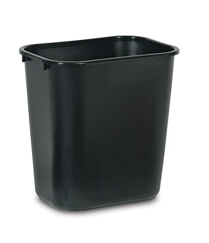 Rubbermaid Commercial Products FG295600BLA Plastic Resin Deskside Wastebasket, 7 Gallon/28 Quart, Black (Pack of 12) (Renewed)