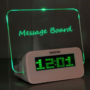 BXT Creative Erasable Memo Board Fluorescent Light Message Board LED Digital Alarm Clock USB 4 Port Hub With Thermometer Calendar Snooze Gift (Fluorescent Alarm Clock)