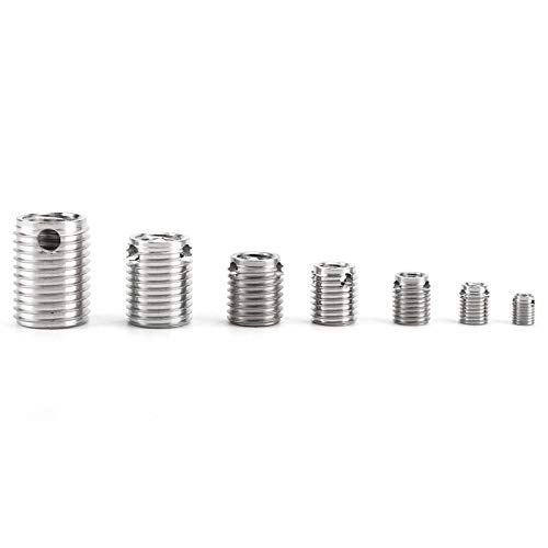 Ochoos 58pcs Self Tapping Thread Inserts Stainless Steel Inner Thread Reinforce Repair Tools Fastener Hardware with Box
