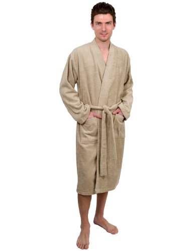 TowelSelections Men's Robe, Turkish Cotton Terry Kimono Bathrobe Medium/Large Desert -