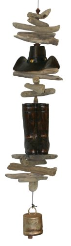 - Cohasset Gifts 612 Wind Cowboy Hat and Boots Cohasset Bell, Hand Carved Brown Mahogany Finish