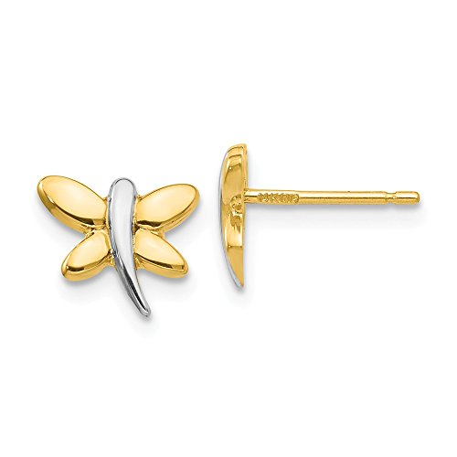 Mia Diamonds 14K Yellow Gold and Rhodium-Plating Polished Dragonfly Post Earrings (10mm x 8mm)
