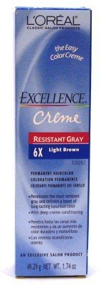 L'Oreal Excellence Creme Resistant # 6X Light Brown 1.74 oz. (Case of 6) by L'Oreal Paris (Best Professional Hair Color For Resistant Gray)