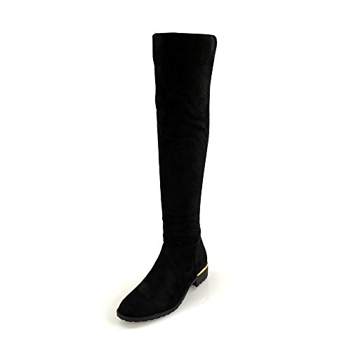 Melora Ladies Women Low Block Heel Stretch Back With Tassle Detailing Knee Boot BLACK SUEDETTE rwWpjZ