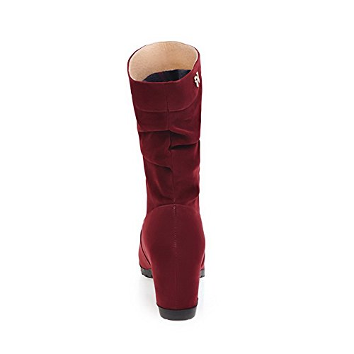 Slip Resistant Womens BalaMasa Boots ABL09880 Claret Wedges Casual Suede ESqx647x
