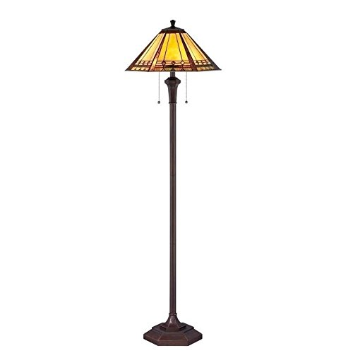 Floor Lamp with Multi-Color Glass in Bronze Patina (Patina Finish Floor Lamps)