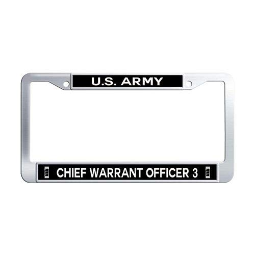 Framespolish US Army Chief Warrant Officer 3 License Plate Frame Stainless Steel Car Plate Cover ()