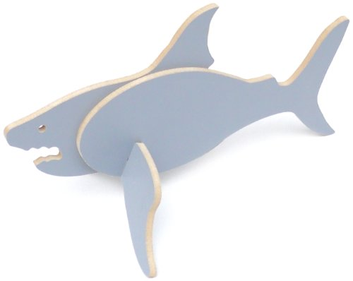 Topozoo Shark 3D Wood Puzzle, Grey (Animal Morph Suits)
