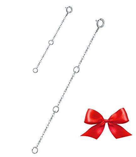 Elda&Co Sterling Silver Necklace Bracelet Extender Rolo Chain: 2pcs per pack in Length: 4 & 2