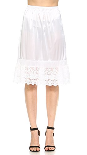 Melody Long Double lace Satin Half Slip Skirt Extender Underskirt- 24