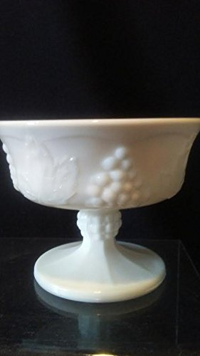 (Indiana White Milk Glass Dessert Cup, Colony Harvest Sorbet, Grape Milk Glass Dessert)