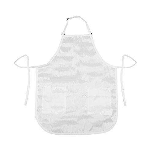 Nylon Apron - Betty Dain Luminous Salon Stylist Apron with Hidden Zippered Pockets and Adjustable Neck, White