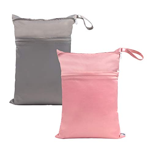 SMALLKE Wet Bag,2 Pack Baby Wet Dry Cloth Diaper Bags,Waterproof Washable, Reusable for Travel, Stroller, Pool,Beach, Wet Swimsuits,Dirty Gym Clothes, Toiletries, Toys,Mommy Bag(Gray&Pink)