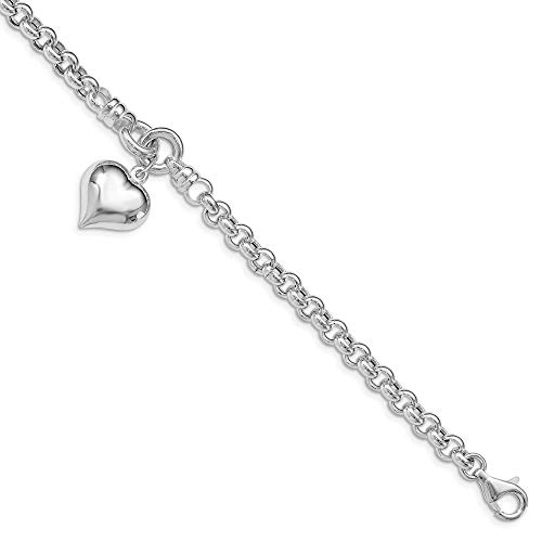 925 Sterling Silver Rolo Dangle Heart Charm Bracelet 8 Inch/love Fine Jewelry Gifts For Women For Her ()