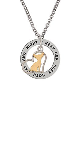- Two Tone Chihuahua Silhouette Heart - Keep Her Safe Affirmation Ring Necklace