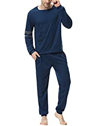 a39f60a29b Men Pajama Set Cotton Long Sleeve Top and Bottom Soft Sleepwear Lounge Set