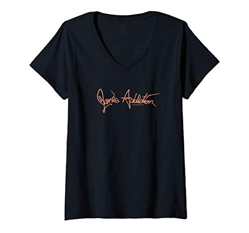 Womens Jane's Addiction Script Logo V-Neck T-Shirt