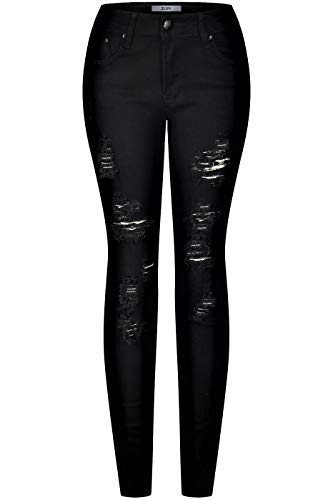 2LUV Women's Stretchy 5 Pocket Skinny Distressed Black Jeans Black -