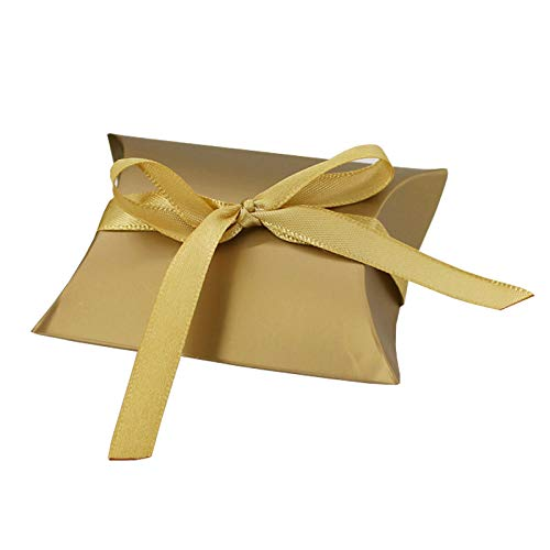 (Gold Pillow Boxes with Gold Ribbon, Golden Candy Boxes for Wedding Box,Baby Shower Box,DIY Chocolate Cookies Case,Birthday Party Supplies Favor Boxes Party Favors Pack of 50)