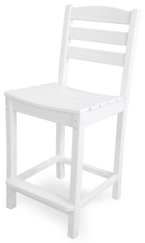 POLYWOOD TD101WH La Casa Café Counter Side Chair, White
