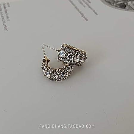 Chwewxi Pendientes de Perlas Antiguos Antiguos Temperamento Femenino Pendientes Coreanos Salvajes Simples Pendientes de Plata, Diamante Blanco - Aguja de Plata