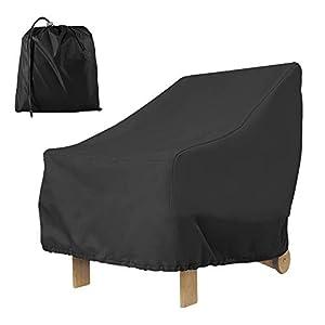 Hootecheu – Funda para silla de jardín, exterior con asiento profundo 210D, impermeable, protección contra los rayos UV, antiviento, con cuerda ajustable, 80 x 85 x 91 cm (210 D), color negro