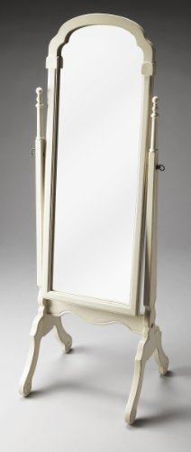 Accent Furniture - Dressing Mirror - Full Length Mirror - Bedroom Mirror - Cottage White Top Cheval