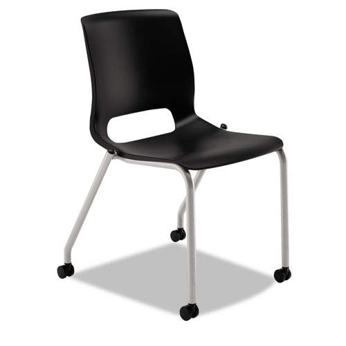 - HON MG201CU10 Motivate Seating Upholstered 4-Leg Stacking Chair, Black/Onyx/Platinum, 2/Carton