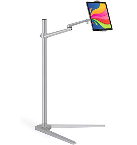 Magichold Height Adjusting Stand Compatible with ipad Pro/Ipad/ipad Mini/Tablet/iPhone/iPhone X, Stand/Holder Table Bed Adjustable Floor Movable Entertainment Lecture Musician Stand (Silver)