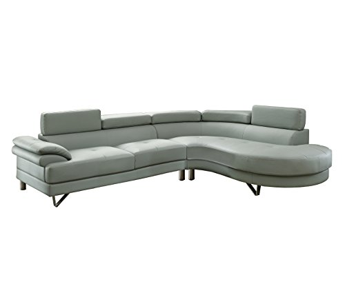 Poundex F6984 Bobkona Isidro Faux Leather Sectional, Grey Contemporary Sectional