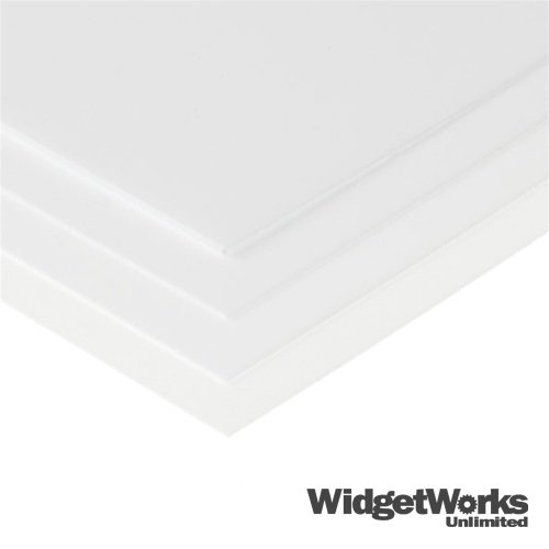 WHITE Styrene Thermoform Plastic Sheets 1/32'' x 12'' x 12'' Sheets - 12 Piece Bundle