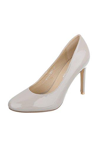 Edelnice Trachtenmode Elegante Damen Pumps High Heels in Lackoptik Schwarz oder Hellgrau Gr. 36-40 Hellgrau