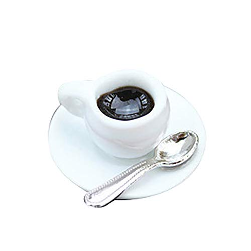 Floralby Miniature Coffee Cup with Saucer Spoon Doll House Accessories Kids Pretend Play Gift Toy