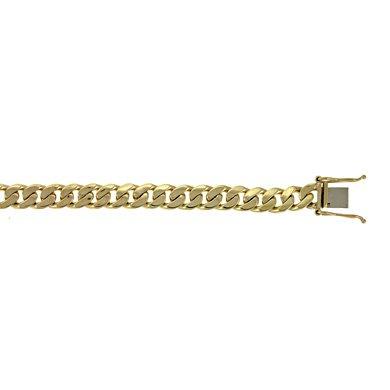 Jaune 14 carats 7,7 mm Maillon de Bracelet gourmette plate - 22 cm-JewelryWeb